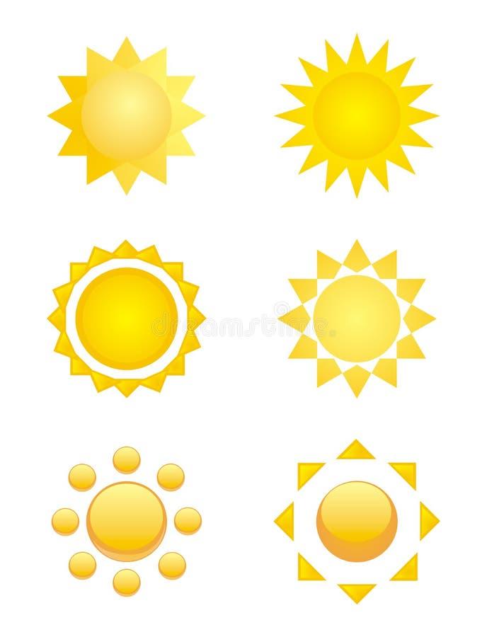 Símbolos aislados del sol - insignia, arte de clip o icono libre illustration