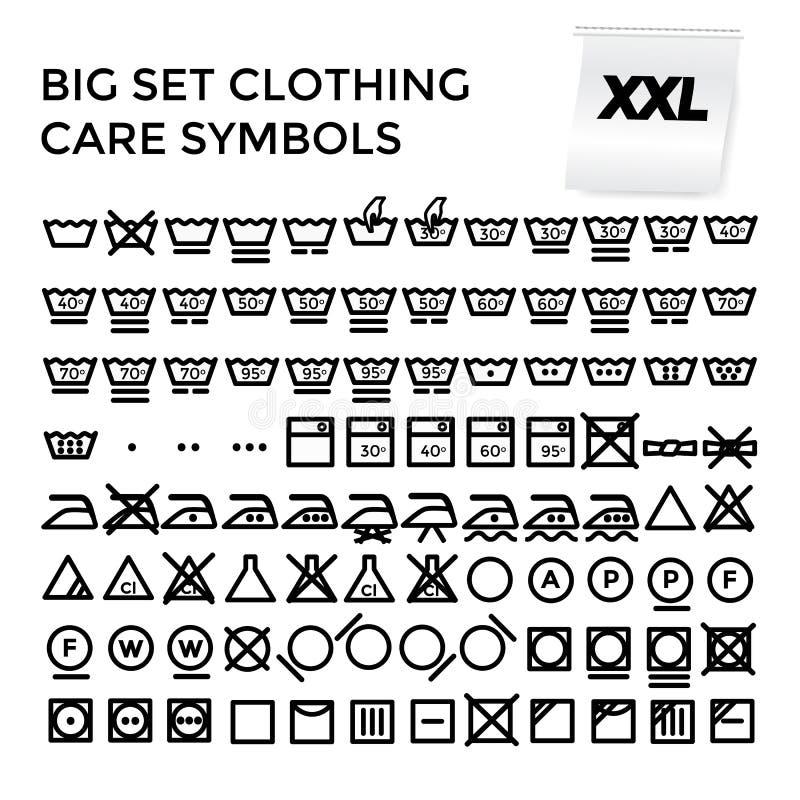 Símbolos ajustados do cuidado da roupa da ilustração do vetor imagens de stock