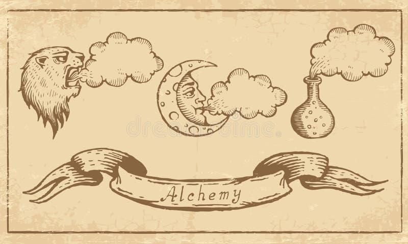 Símbolos alquímicos ilustração stock