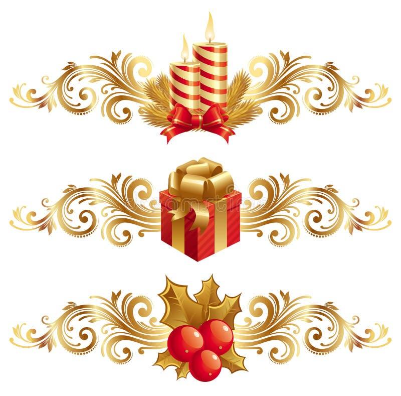 Símbolos & ornamento do Natal ilustração stock
