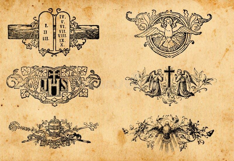 Símbolos antigos da religião imagem de stock