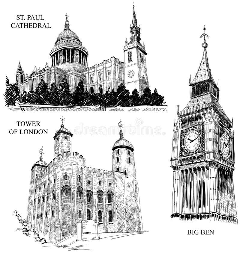 Símbolos arquitectónicos de Londres ilustración del vector