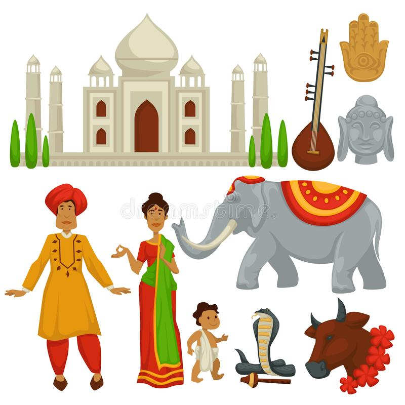 Símbolos arquitetura da cultura do curso da Índia e animais homem e mulher ilustração stock
