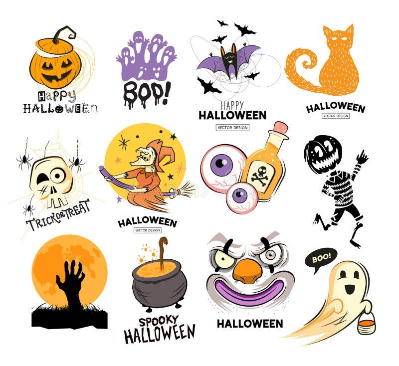 Símbolos assustadores felizes do projeto de Dia das Bruxas ilustração do vetor
