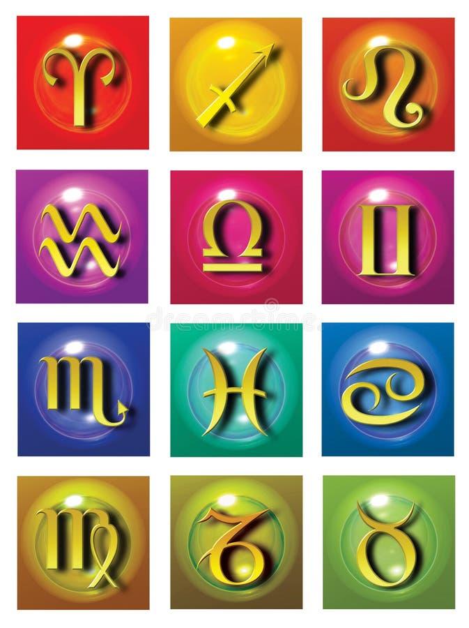 Símbolos astrológicos ilustração do vetor