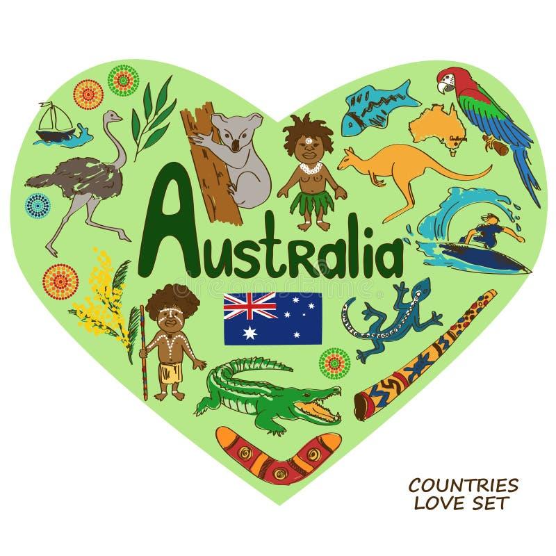 Símbolos australianos en concepto de la forma del corazón libre illustration