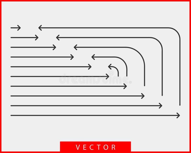 Símbolos blancos y negros del fondo del vector de las flechas de la colección ilustración del vector