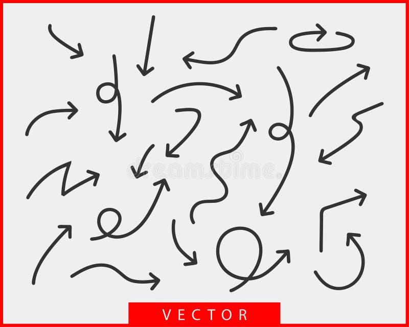 Símbolos blancos y negros del fondo del vector de las flechas de la colección Diverso círculo del sistema del icono de la flecha, libre illustration