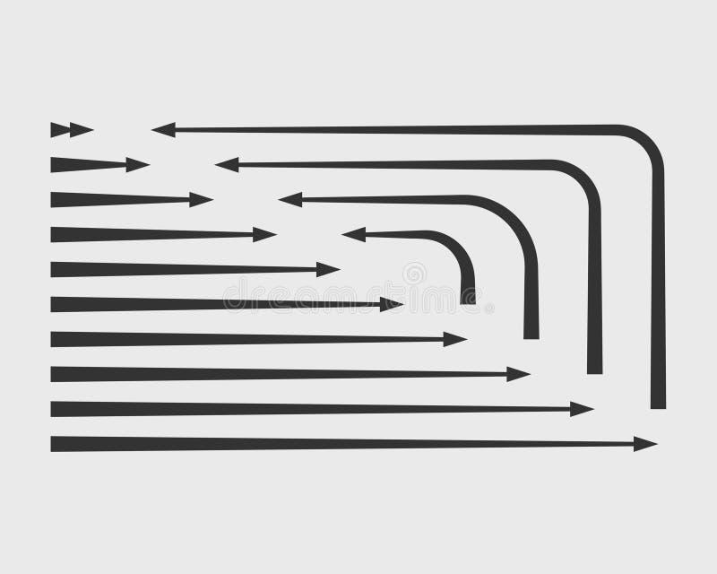 Símbolos blancos y negros del fondo del vector de las flechas de la colección Diverso círculo del sistema del icono de la flecha, ilustración del vector