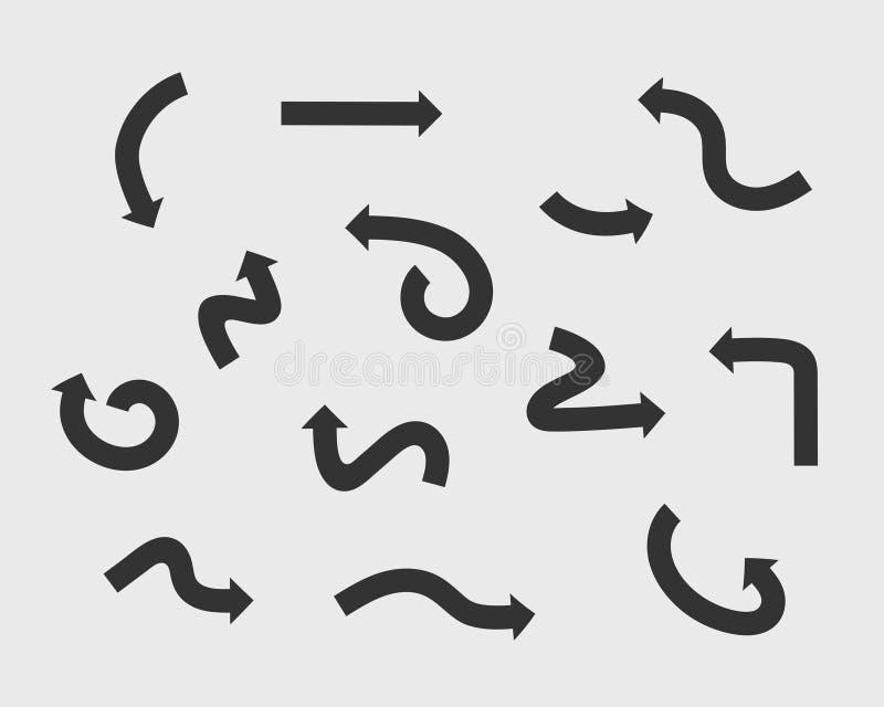 Símbolos blancos y negros del fondo del vector de las flechas de la colección Diverso círculo del sistema del icono de la flecha, stock de ilustración