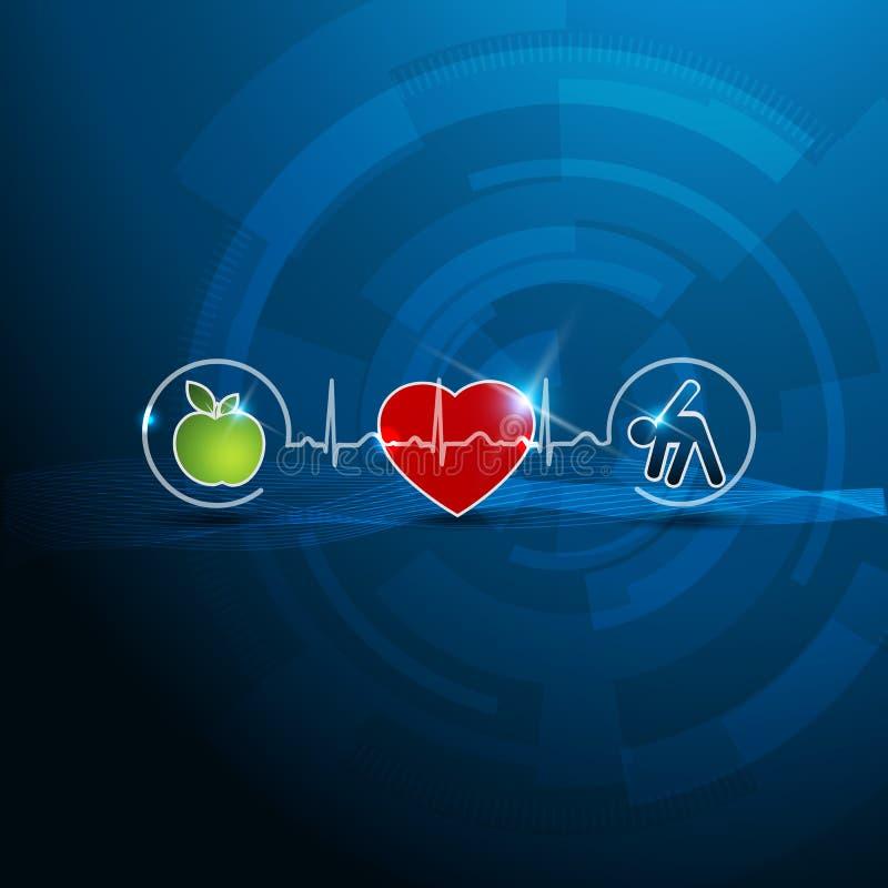 Símbolos brilhantes da cardiologia, vida saudável ilustração stock