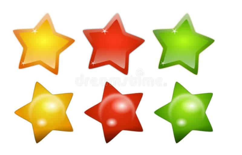 Símbolos brilhantes da estrela ilustração do vetor