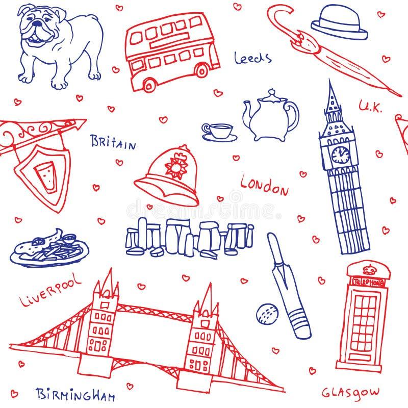 Símbolos británicos y modelo inconsútil de los iconos libre illustration