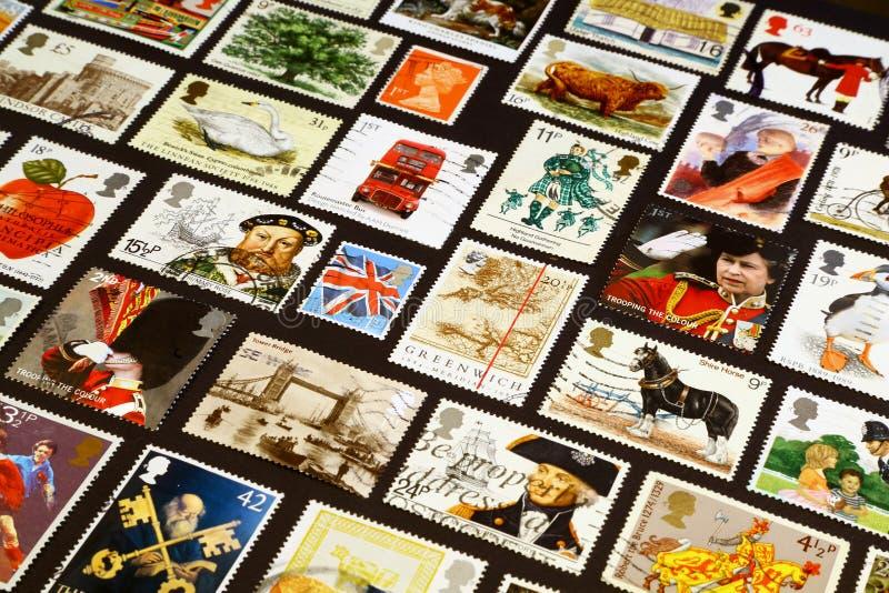 Símbolos britânicos em selos imagem de stock