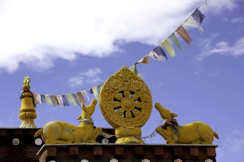 Símbolos budistas em Nako Gompa fotos de stock royalty free