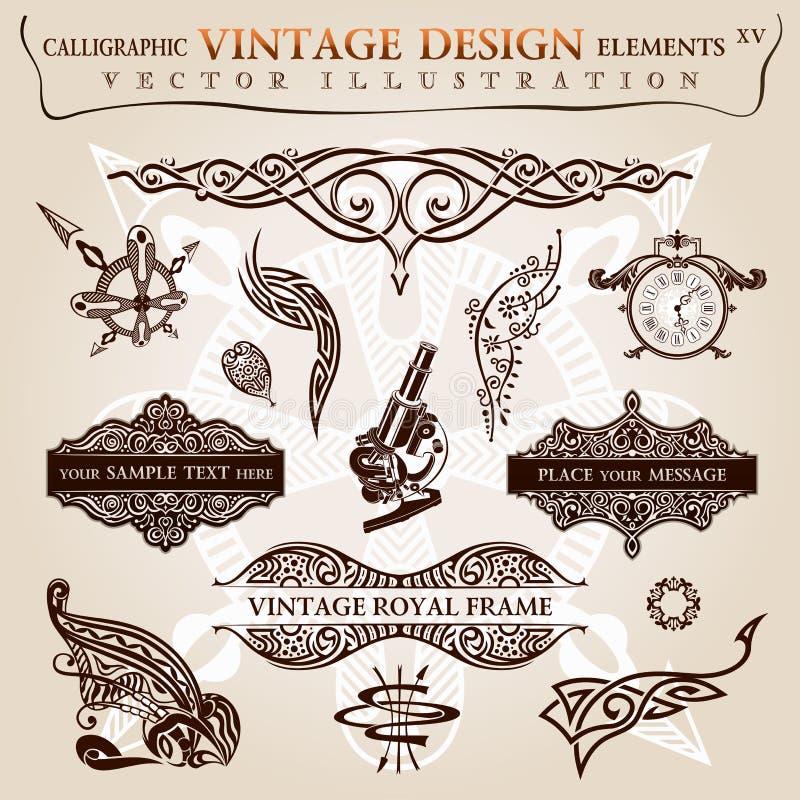 Símbolos caligráficos do vetor do vintage dos elementos ilustração do vetor