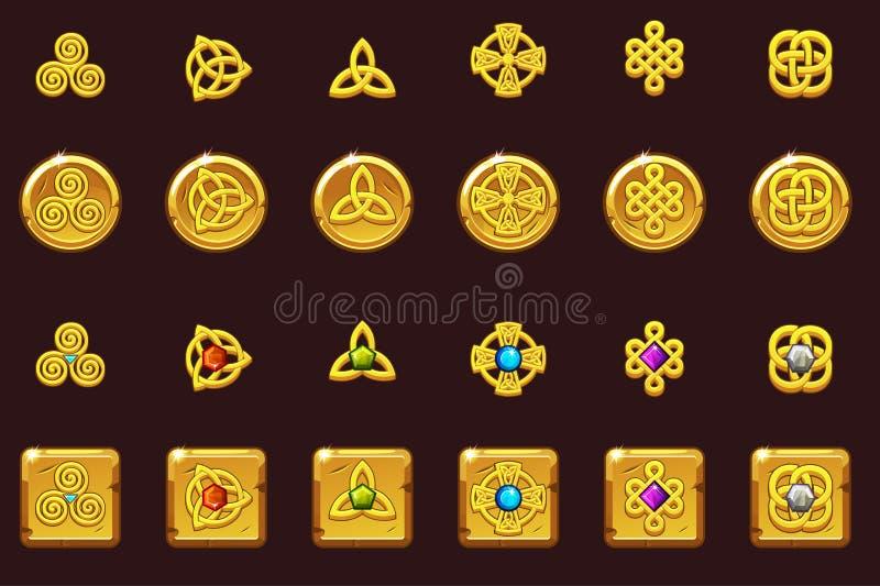 Símbolos celtas dos ícones ajustados com gemas Moedas e quadrado dourados com gemas Os desenhos animados ajustaram ícones celtas ilustração do vetor