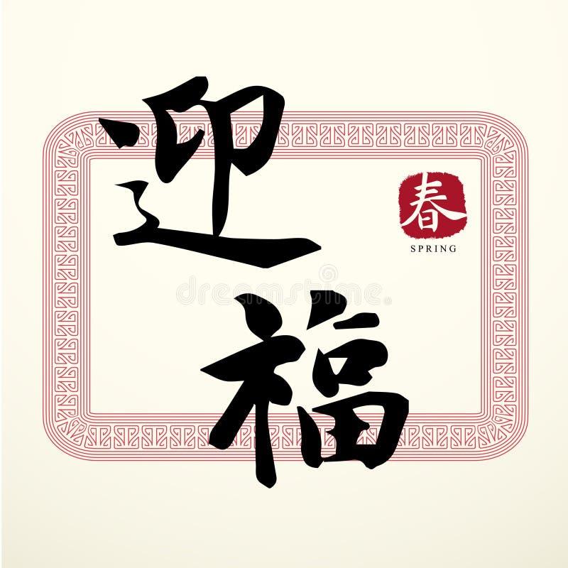 Símbolos chineses da boa sorte da caligrafia ilustração royalty free