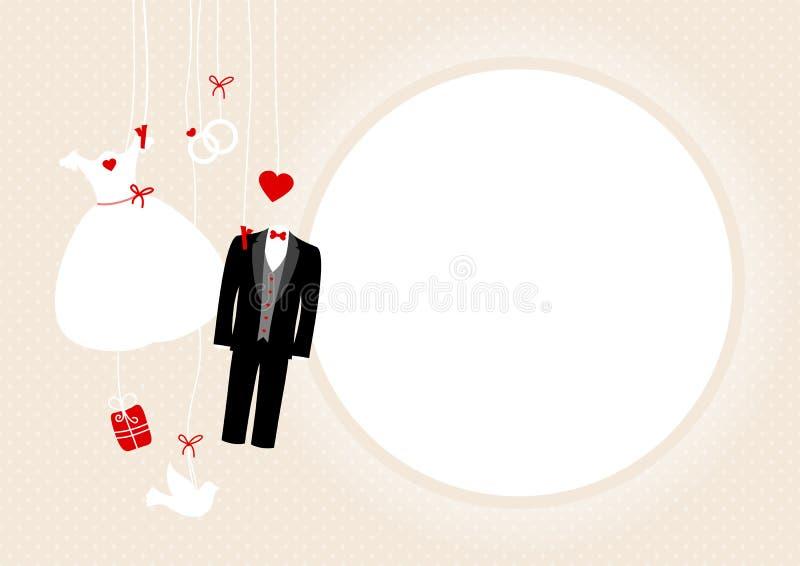 Símbolos colgantes de la boda alrededor del beige del marco y de puntos rojos stock de ilustración