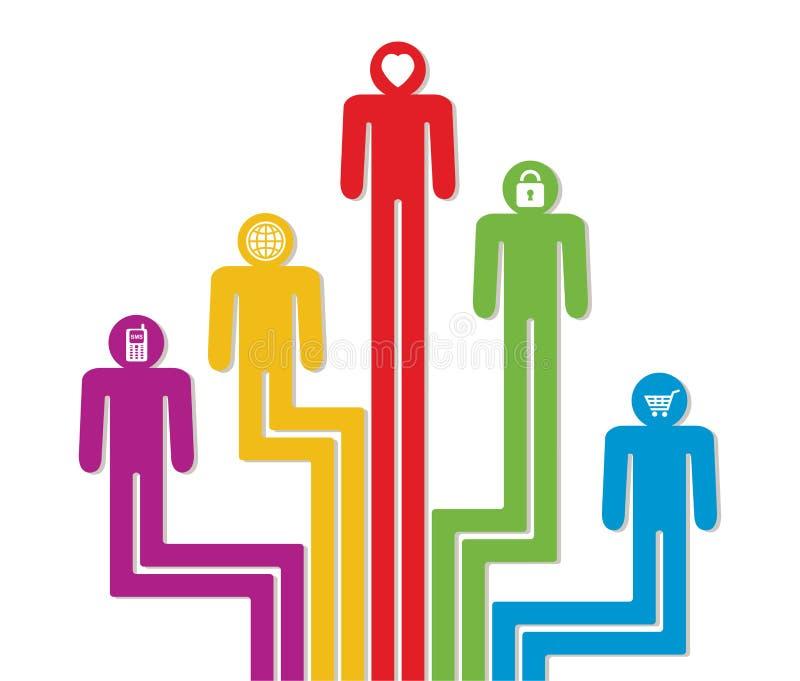 Símbolos coloridos abstractos de la gente stock de ilustración