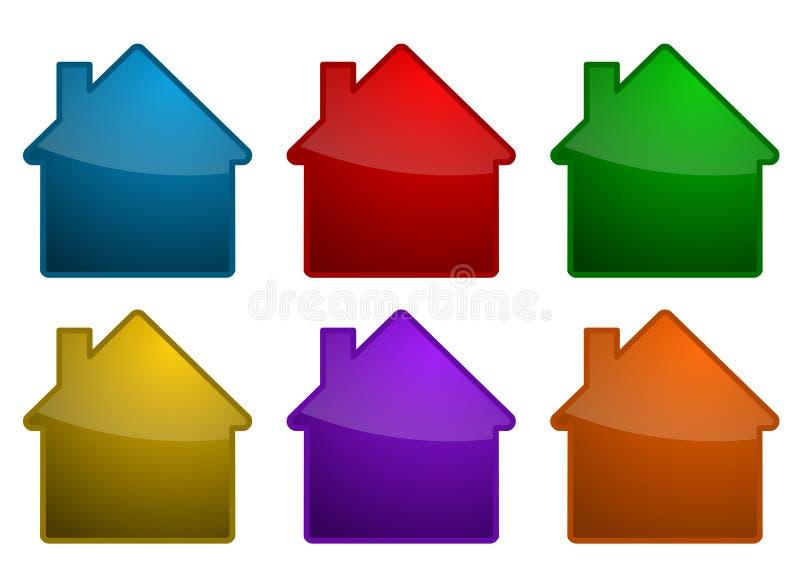Símbolos coloridos de la casa ilustración del vector