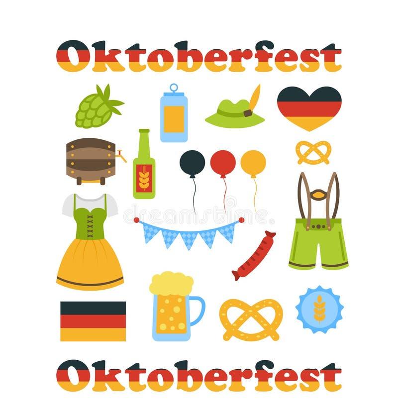 Símbolos coloridos de Oktoberfest isolados ilustração royalty free