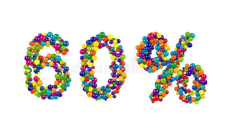 símbolos coloridos de 60 uns sessenta por cento em cores do arco-íris ilustração do vetor