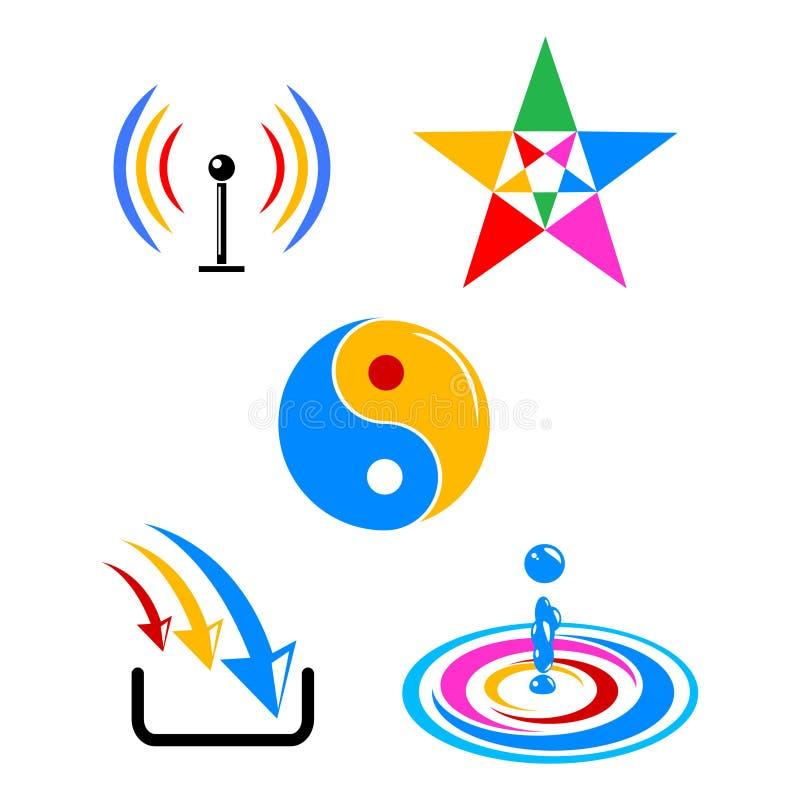 Símbolos coloridos do vetor ilustração do vetor