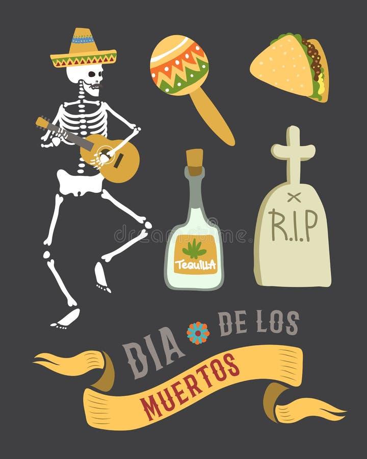 Símbolos coloridos para el día de dia de los muertos del vector muerto stock de ilustración