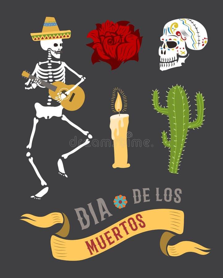 Símbolos coloridos para el día de dia de los muertos del vector muerto libre illustration