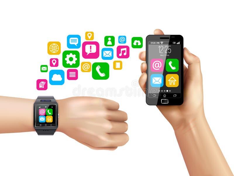 Símbolos compatíveis de transferência de dados de Smartphone Smartwatch ilustração stock