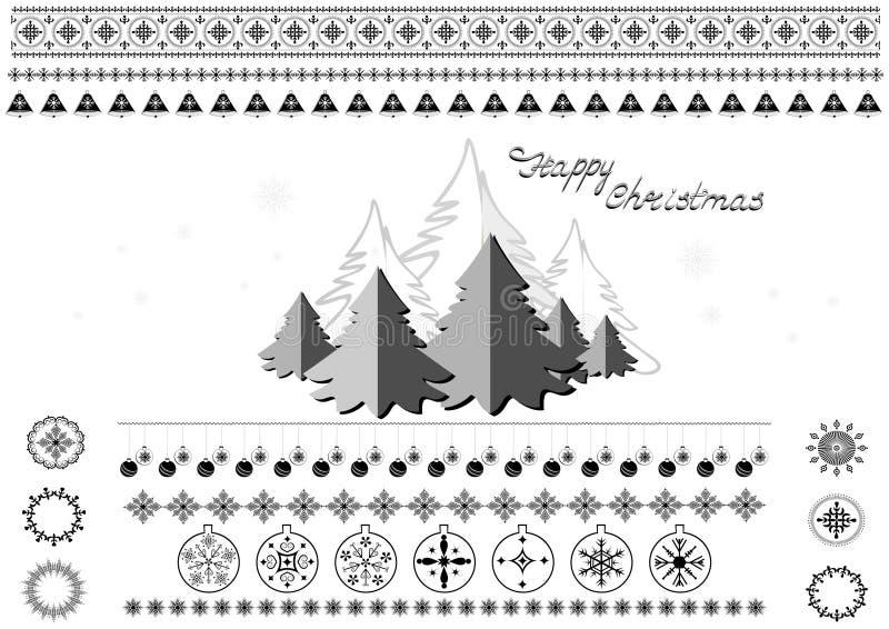 Símbolos, copos de nieve, árboles de navidad, fronteras y saludos de la Navidad libre illustration