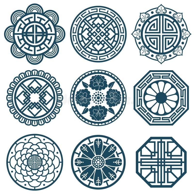 Símbolos coreanos tradicionales, diseño del modelo de Corea del vector para las tejas de la repetición del cuarto de baño stock de ilustración