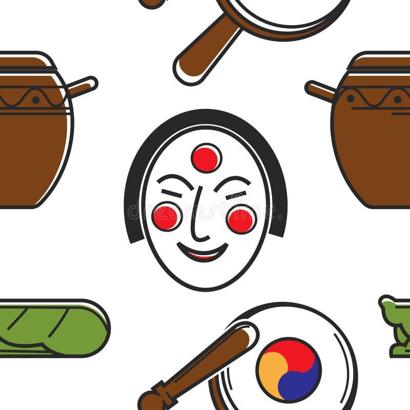 Símbolos coreanos y el viajar y turismo inconsútiles del modelo de la cultura stock de ilustración