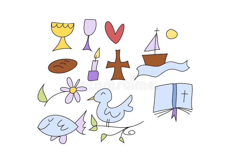 Símbolos cristãos para miúdos ilustração stock