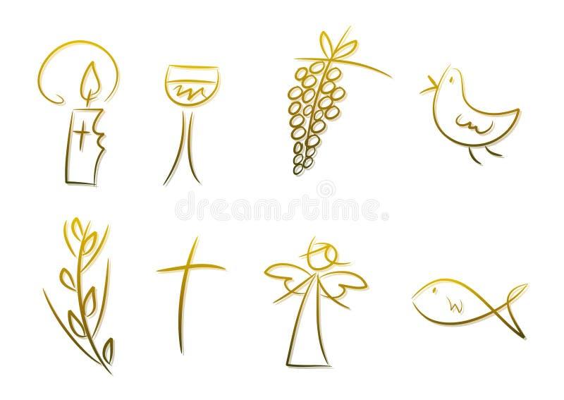 Símbolos cristianos stock de ilustración