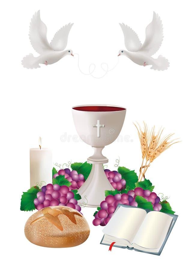 Símbolos cristianos aislados con la cáliz blanca, pan, biblia, uvas, vela, paloma, oídos del trigo ilustración del vector