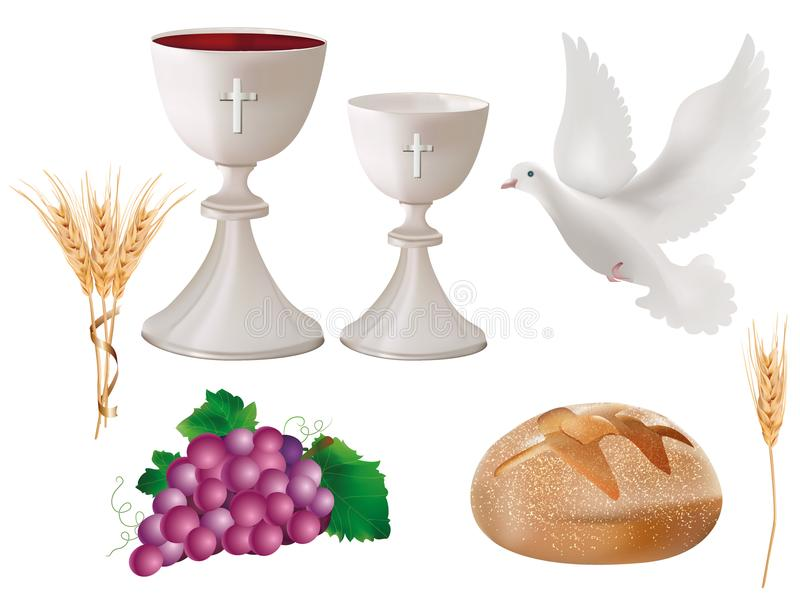 símbolos cristianos aislados realistas del ejemplo 3d: cáliz blanca con el vino, paloma, uvas, pan, oído del trigo libre illustration