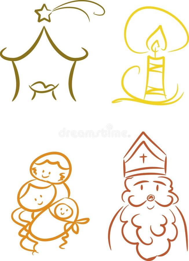 Símbolos cristianos coloridos de la Navidad stock de ilustración