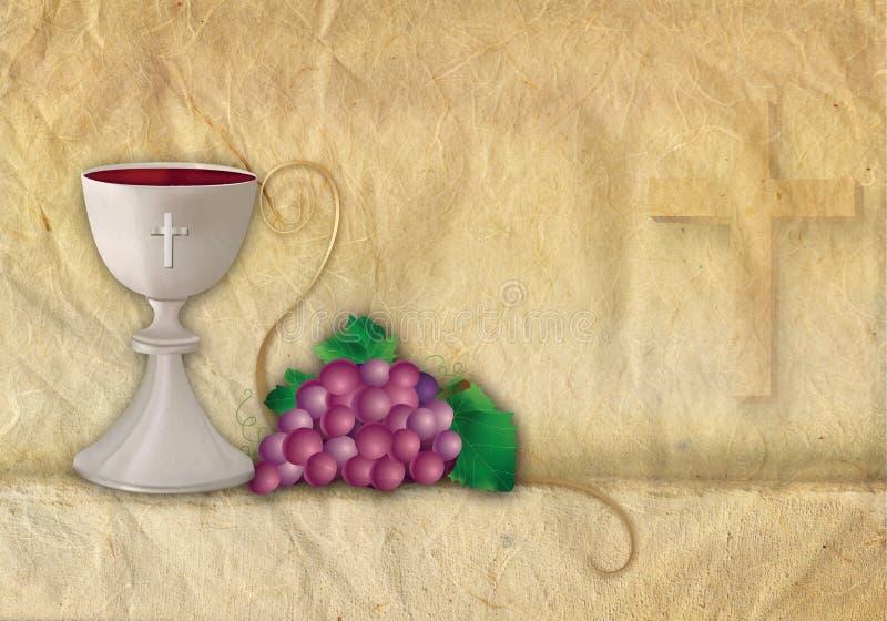 Símbolos cristianos de la tarjeta con la cáliz 3d y las uvas ilustración del vector