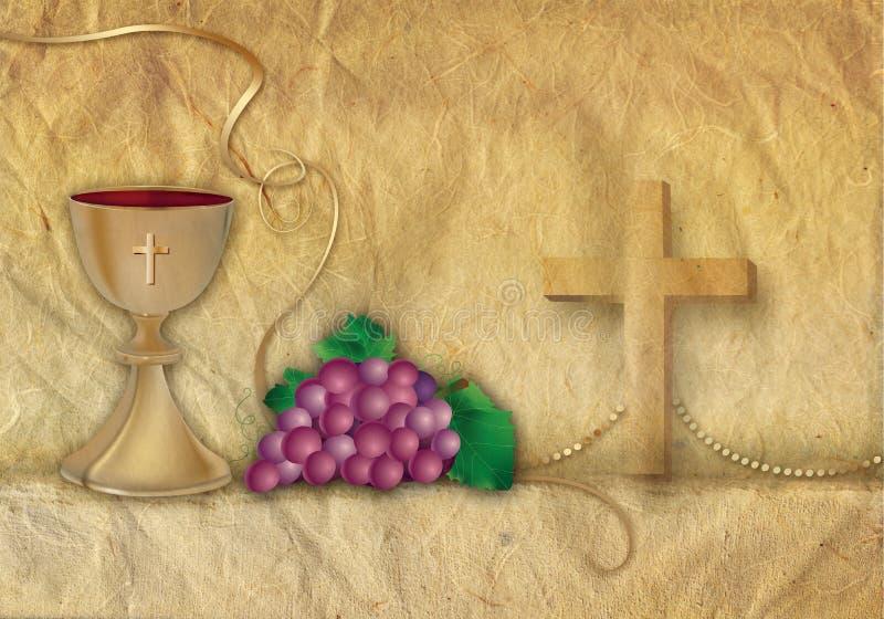 Símbolos cristianos de la tarjeta con la cáliz 3d y las uvas con los ornamentos de oro ilustración del vector