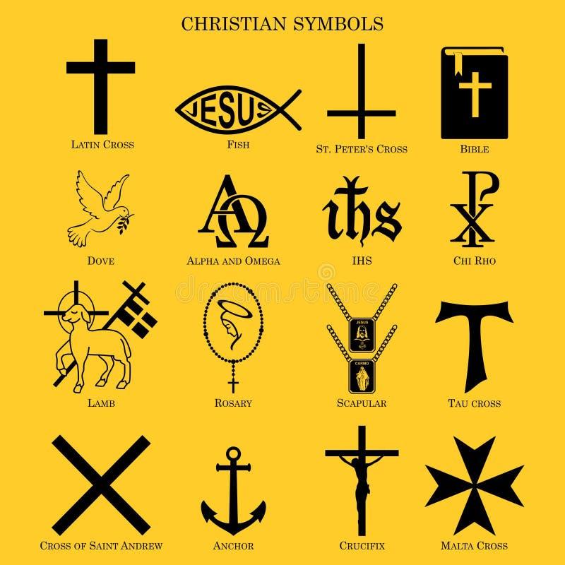 Símbolos cristianos Símbolos múltiples del cristianity stock de ilustración