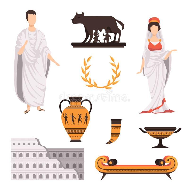 Símbolos culturais tradicionais de ilustrações ajustadas antigas do vetor de Roma em um fundo branco ilustração stock