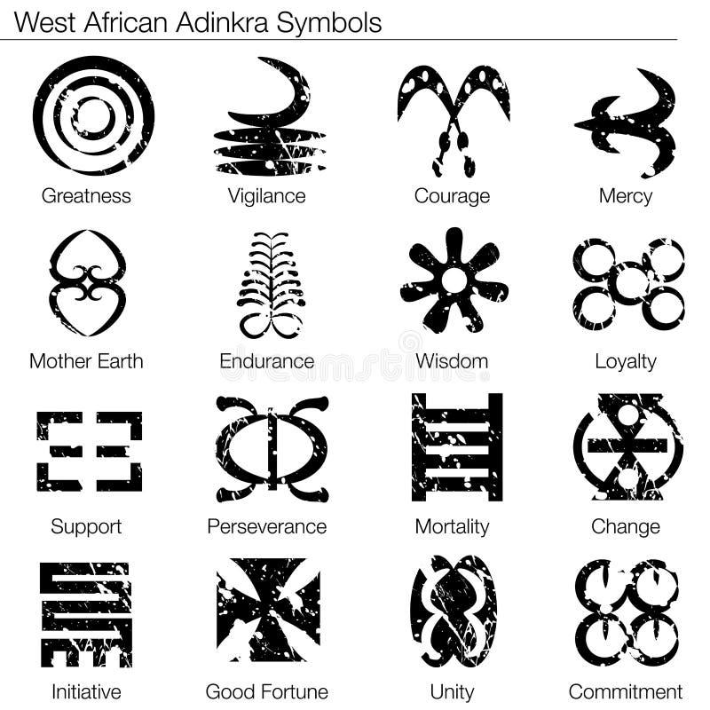 Símbolos da África Ocidental de Adinkra ilustração stock
