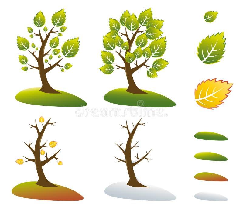 Símbolos da árvore da estação   foto de stock royalty free
