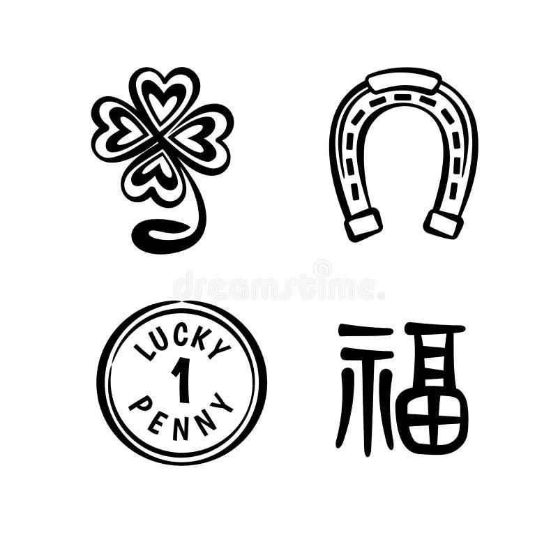 Símbolos da boa sorte ilustração royalty free