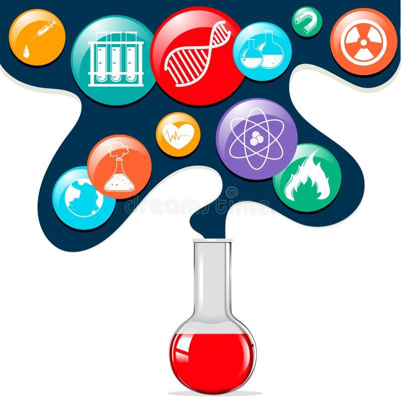 Símbolos da ciência e taça de vidro ilustração do vetor