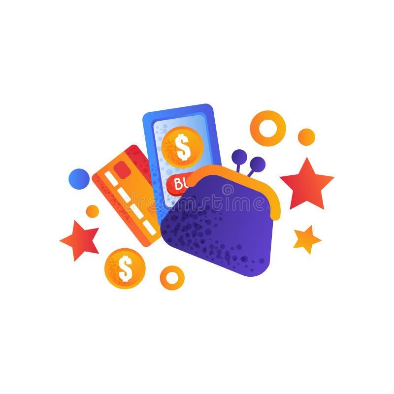 Símbolos da compra, bolsa retro do dinheiro, smartphone e cartão credic, compra do Internet, vetor do conceito do comércio eletrô ilustração do vetor