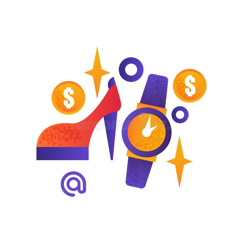 Símbolos da compra, sapata fêmea, relógio de pulso, compra do Internet, ilustração do vetor do conceito do comércio eletrônico em ilustração do vetor