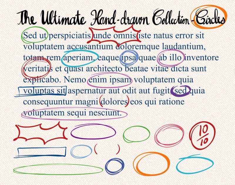 Símbolos da correção do texto no papel ilustração stock